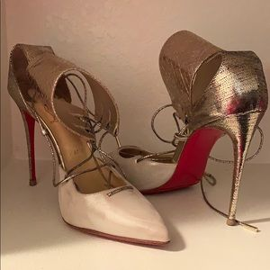 Gold Lace Louboutin Heels
